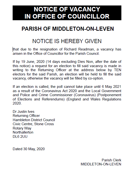 Notice of Vacancy for Middleton-on-Leven Parish Councillor